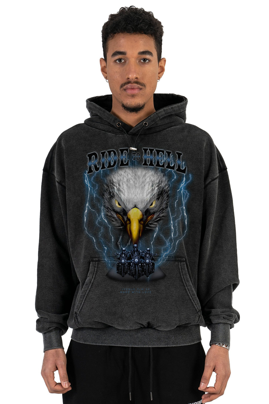 HOODIE RIDE TO HELL BLACK WASHED 2