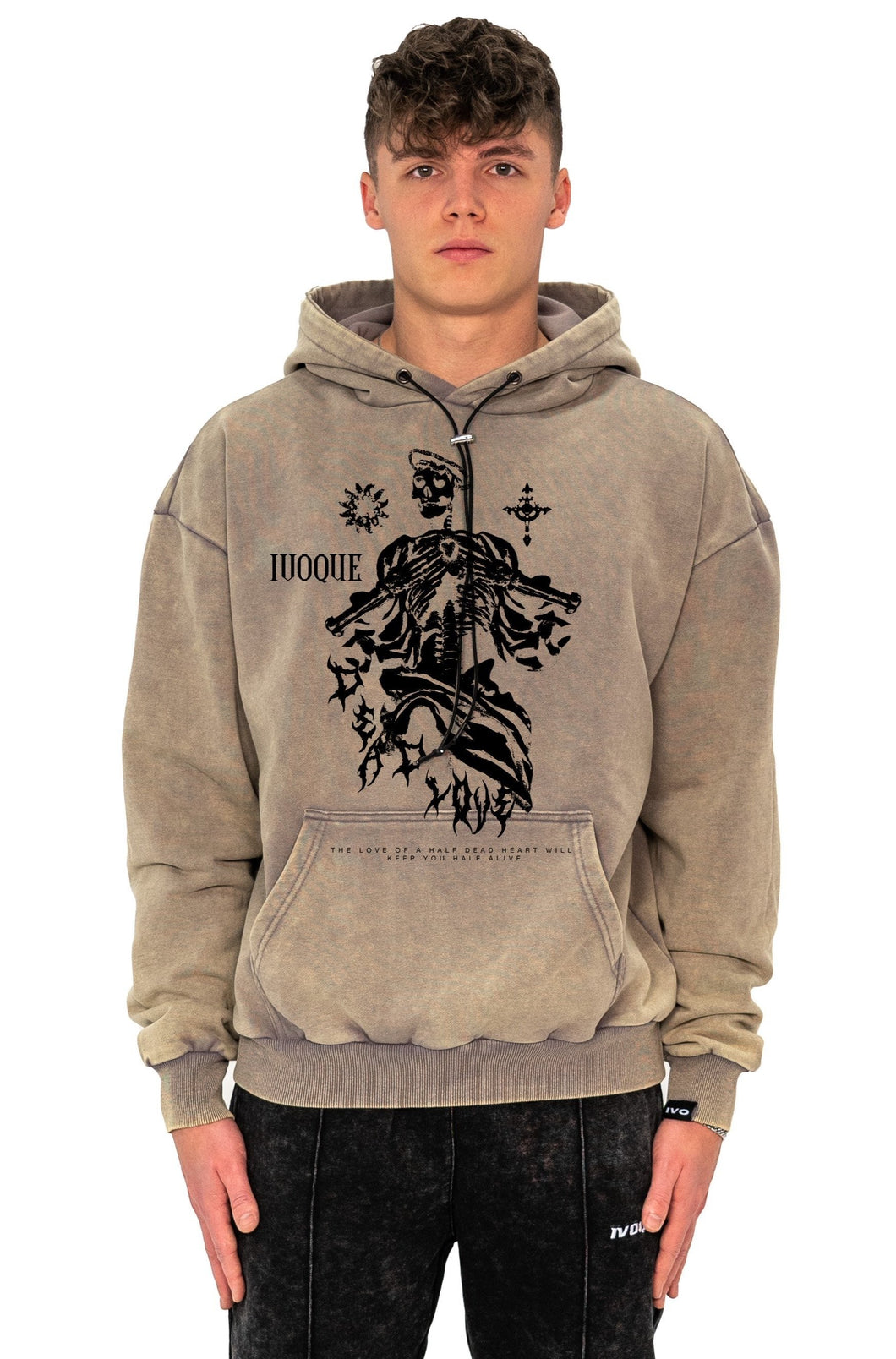 HOODIE SKULL SAND WASHED