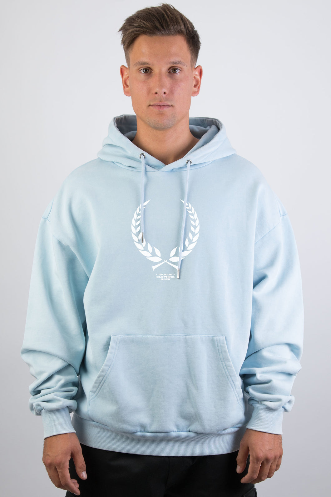 Ivo Hoodie Blue Washed Trophy White