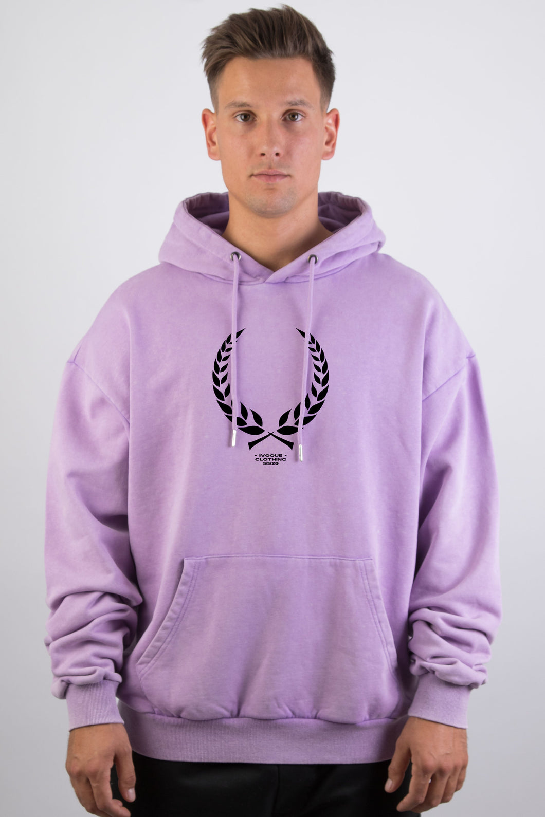 Ivo Hoodie Purple Washed Trophy Black