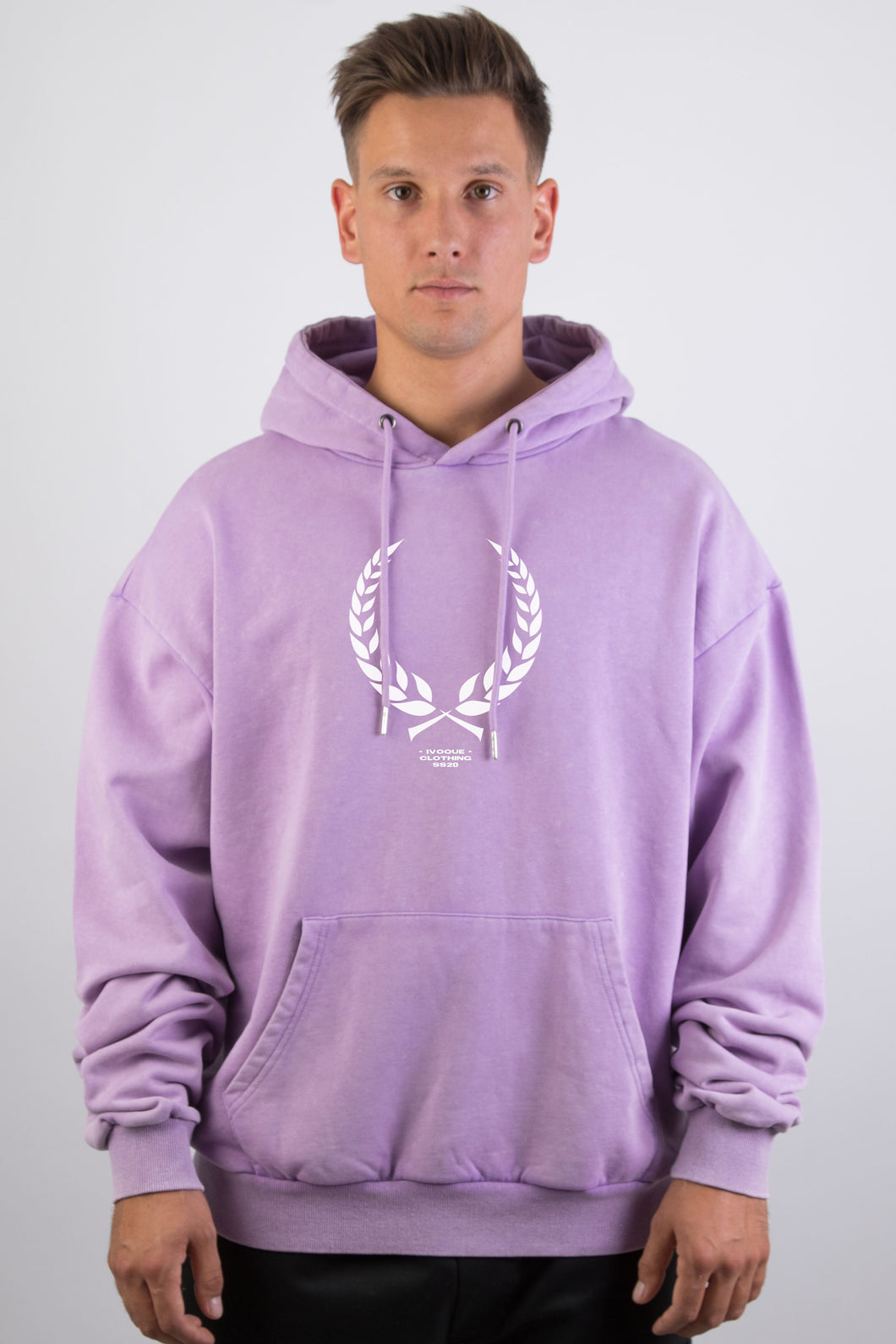 Ivo Hoodie Purple Washed Trophy White