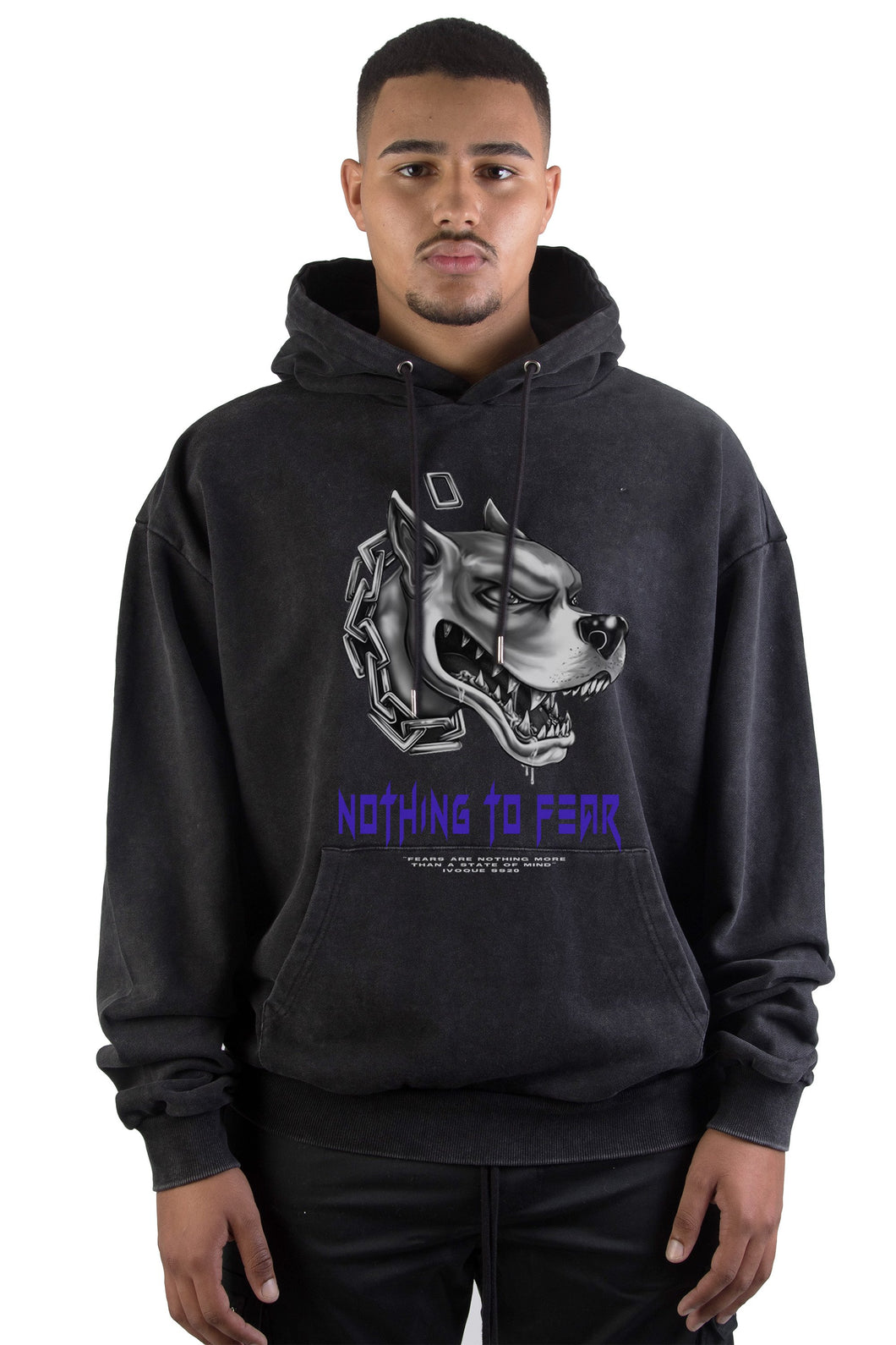 Hoodie Black Washed Fear