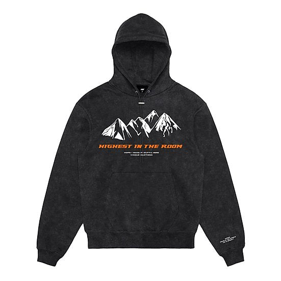Hoodie Washed Grey 'HIGHEST' Orange
