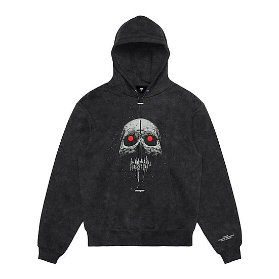 Hoodie Washed Grey / Red