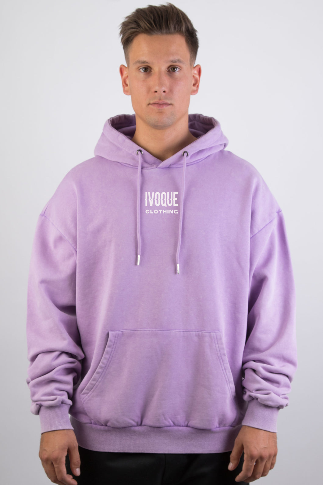 Logo Hoodie Purple Washed White II