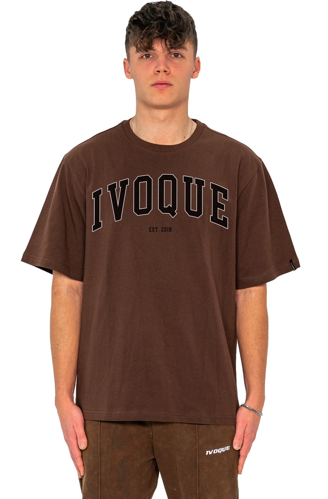 T-SHIRT COLLEGE BLACK LOGO MOCCA BROWN