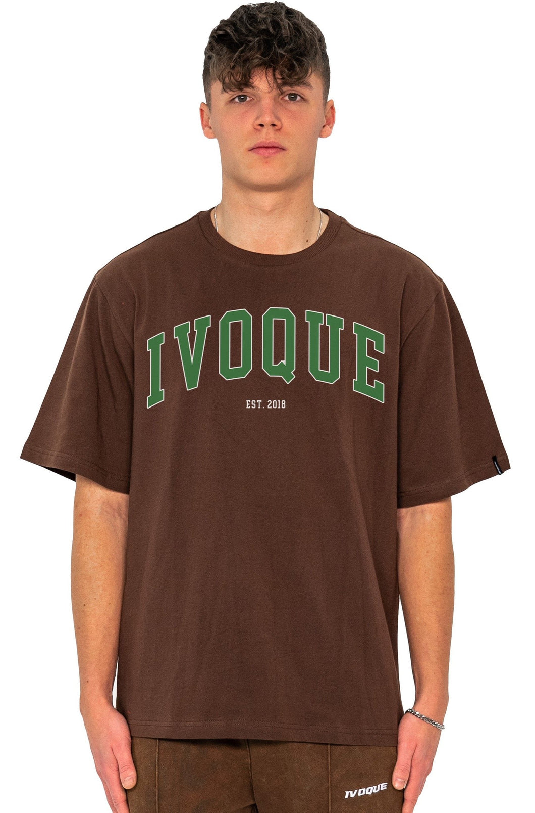 T-SHIRT COLLEGE GREEN LOGO MOCCA BROWN
