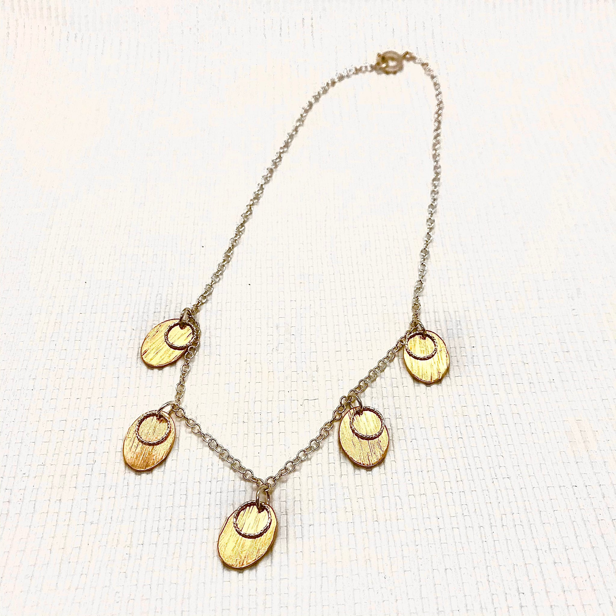 Hera Oval Brass Disc & Silver Loop Necklace