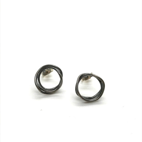Oxidised Mini Nest Studs