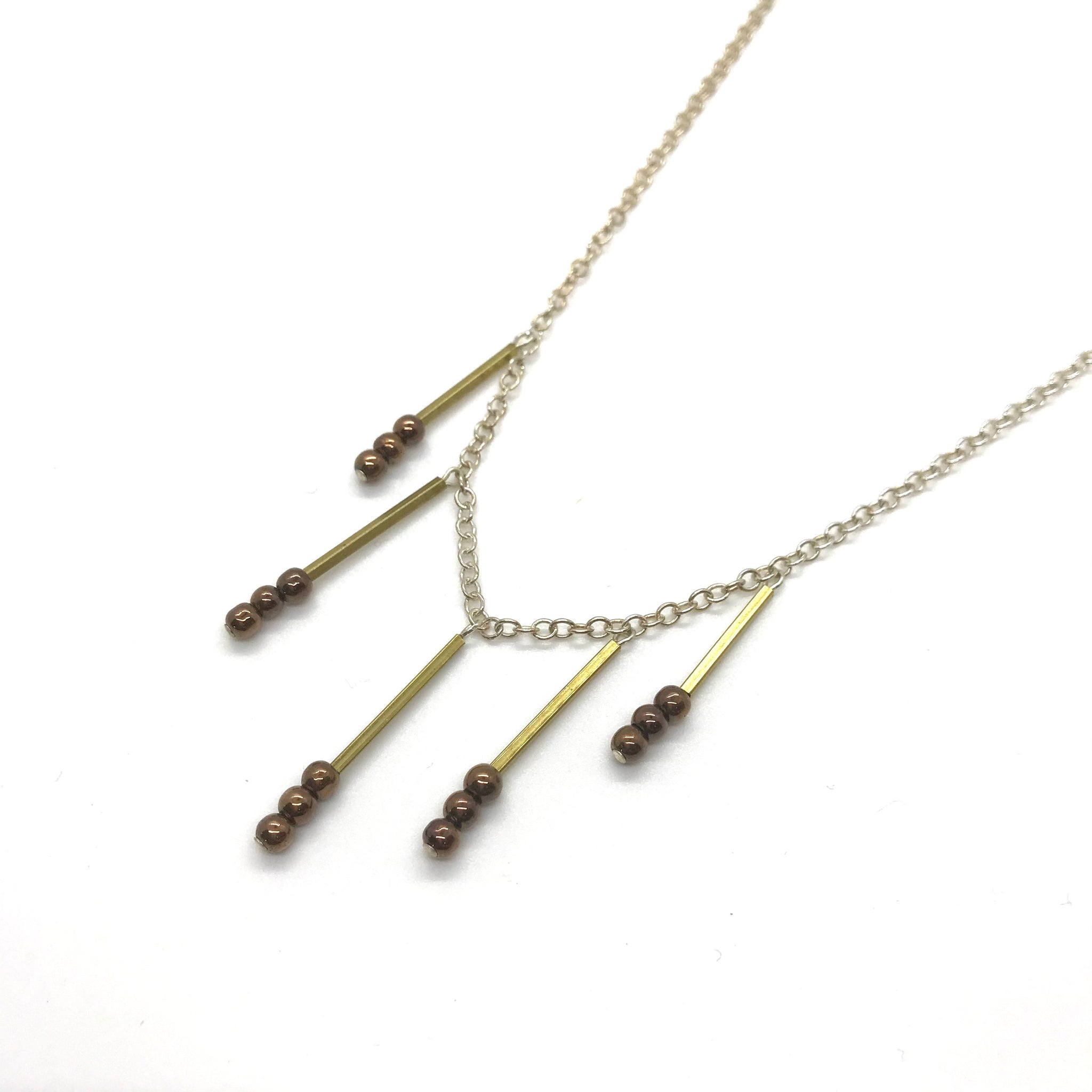 Brass & Bronze Pearl Necklace