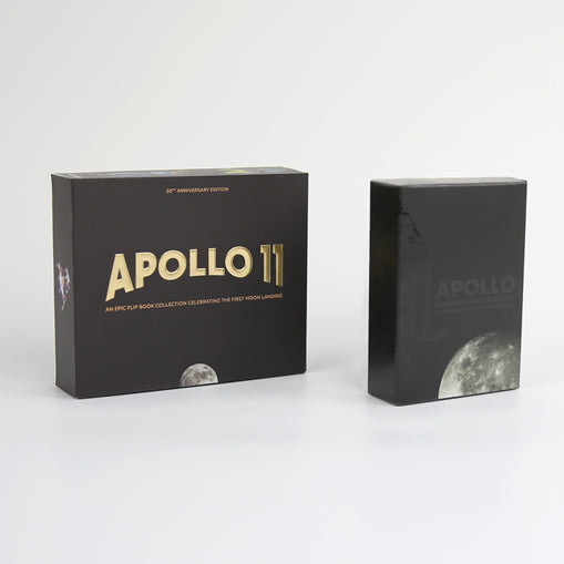 APOLLO 11 COLLECTION - a great gift for space enthusiasts including a double flip book edition with real NASA footage and AR content to discover the mission's spacecraft. Comes with a set of 70 neatly designed Commemorative Cards.