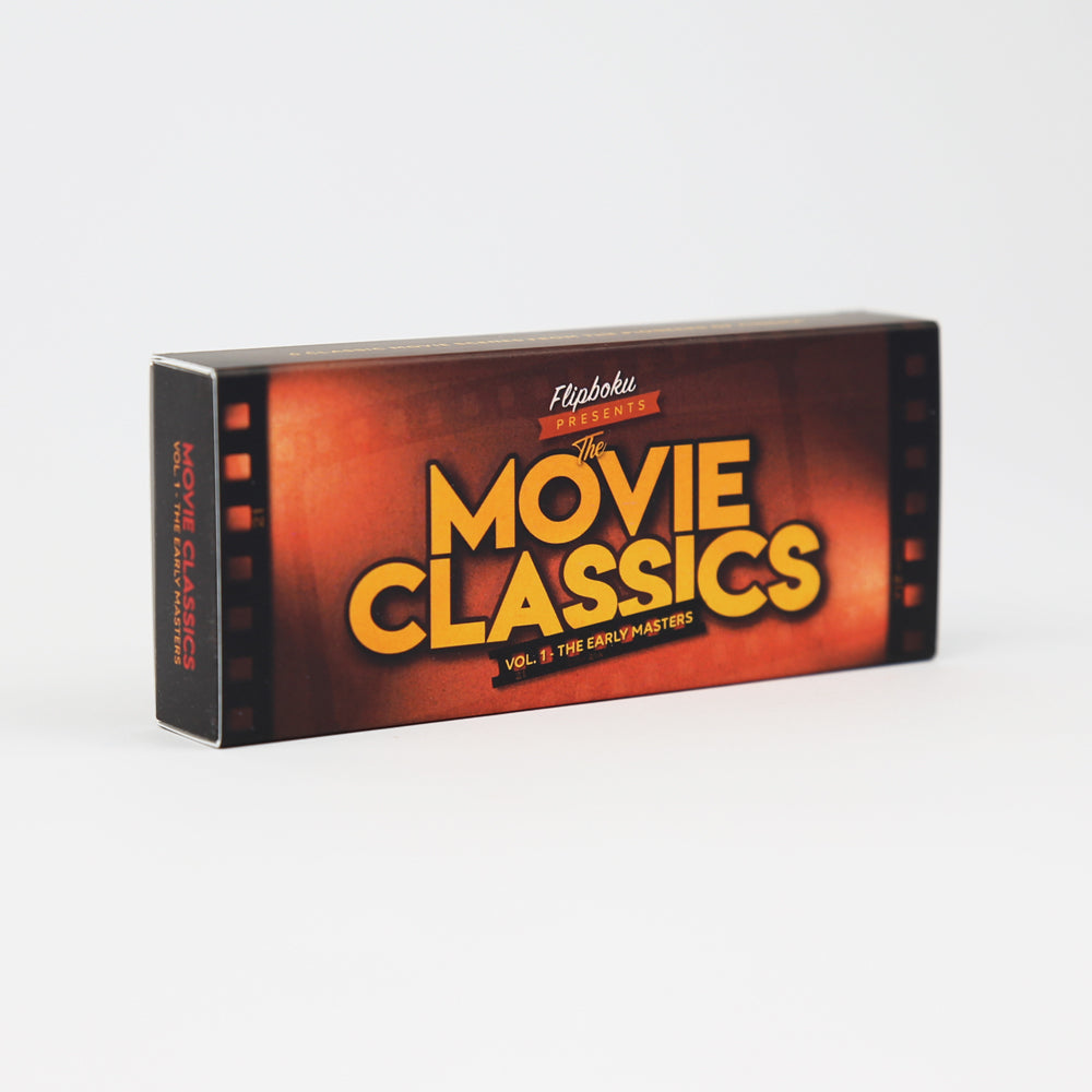 MOVIE CLASSICS FLIP BOOK – A surprising 6×1 flipbook that brings beloved film classics like Fritz Lang's Metropolis or Charlie Chaplin's Gold Rush back to life. Published by Flipboku in 2020.