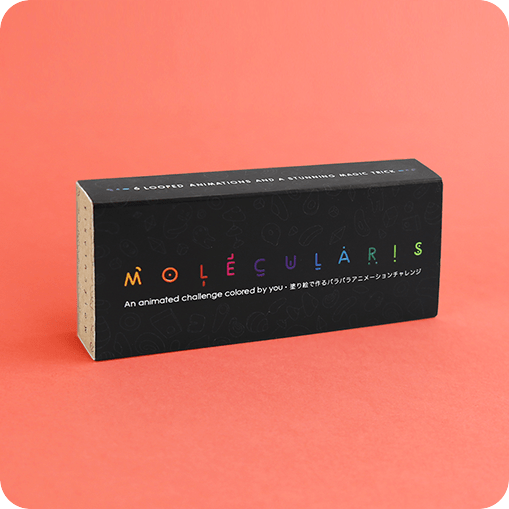 MOLECULARIS - A magical coloring flip book by Flipboku that reinvents the classic flipbook by combining colouring, animation and optical illusion in a single format.
