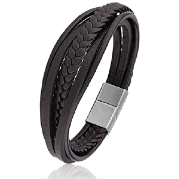 Black Leather Bracelet Available at The Vault Fine Jewellery