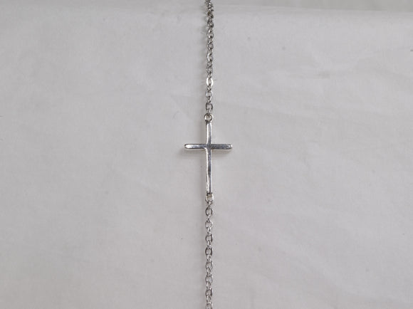 Sterling Silver Cross Bracelet | 7.5