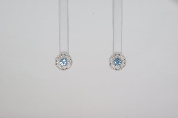 14k White Gold Aqua Earrings Available at The Vault Fine Jewellery