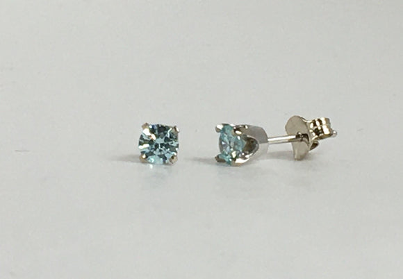 14k White Gold Swarovski Birthstone Earings Availabel at The Vault Fine Jewellery