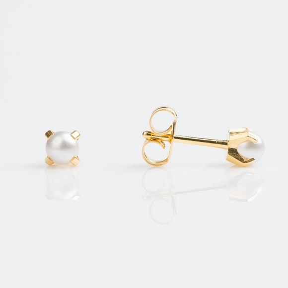 14k Yellow Gold Pearl Studex Earrings Availabel at The Vault Fine Jewellery