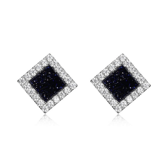 Sterling Silver Navy Square Cubic Zirconia Elle Earrings Availabel at The Vault Fine Jewellery