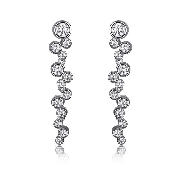 Sterling Silver Bubble Collection Drop Earrings by Elle