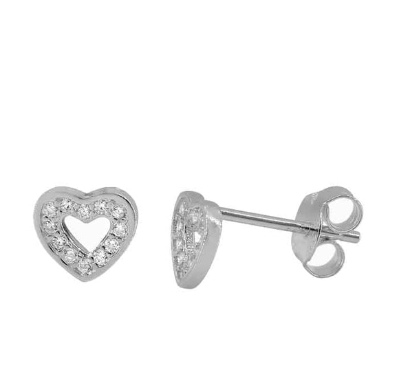 Open Heart Stud Earrings