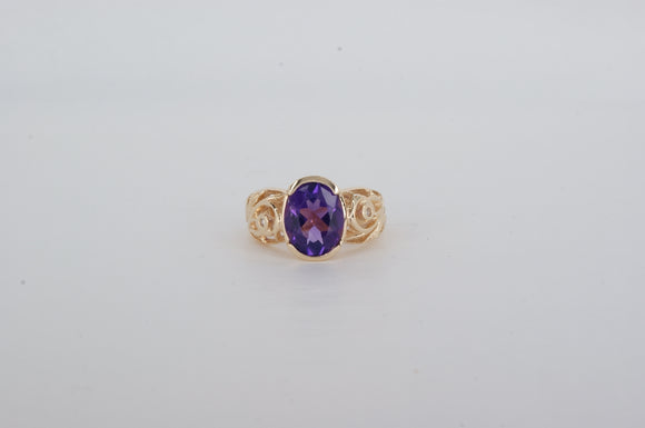 14k Yellow Gold Amethyst Ring Estate & Vintage Availabel at The Vault Fine Jewellery