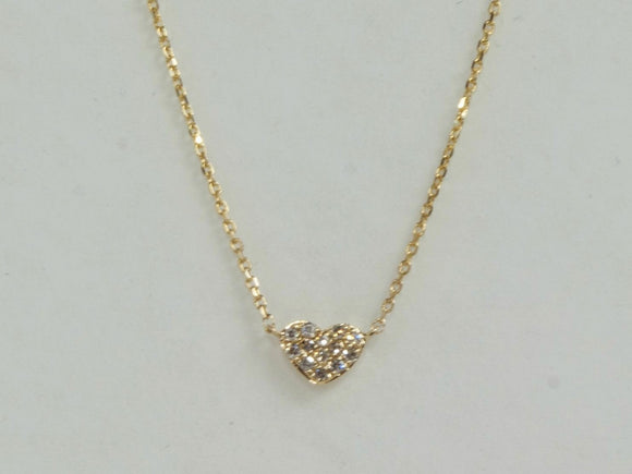 14K Yellow Gold Genuine Diamond Heart Necklace by Miss Mimi | 16