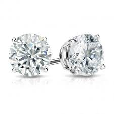 14K White Gold 3.07CT Diamond Stud Earrings