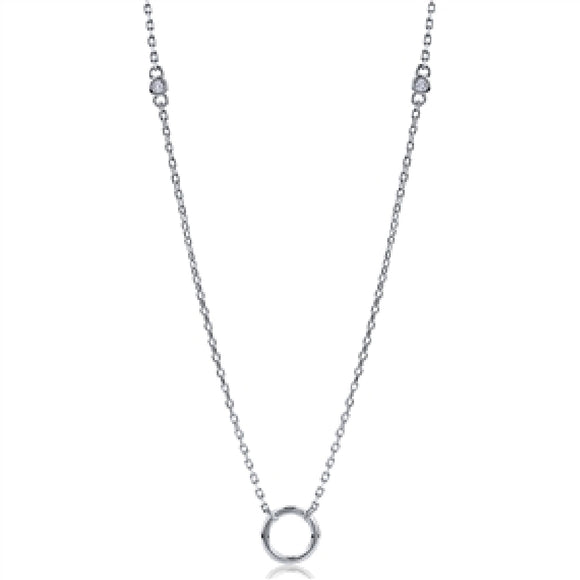 Sterling Silver Cubic Zirconia Circle Necklace Availabel at The Vault Fine Jewellery