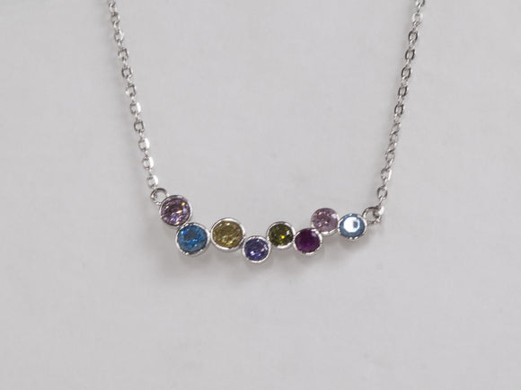 Sterling Silver Multi Colour Cubic Zirconia Pendant Necklace