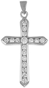 Sterling Silver Cubic Zirconia Cross Crucifix Pendant Availabel at The Vault Fine Jewellery