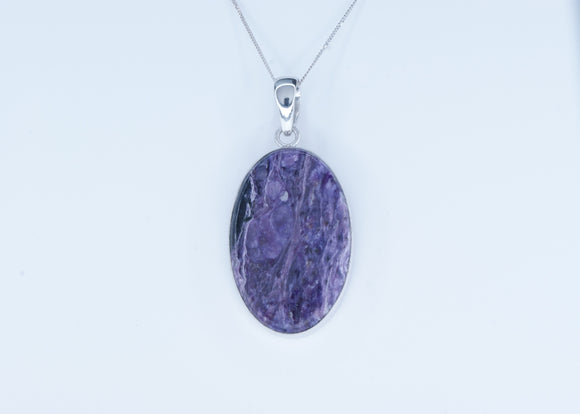 Sterling Silver Charoite Pendant Necklace Availabel at The Vault Fine Jewellery