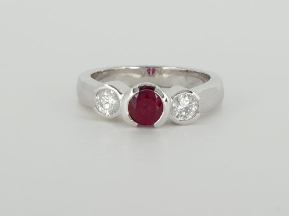 Ruby Diamond White Gold Ring Availabel at The Vault Fine Jewellery