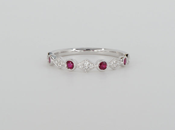 18k White Gold Ruby Diamond Stack Ring Availabel at The Vault Fine Jewellery