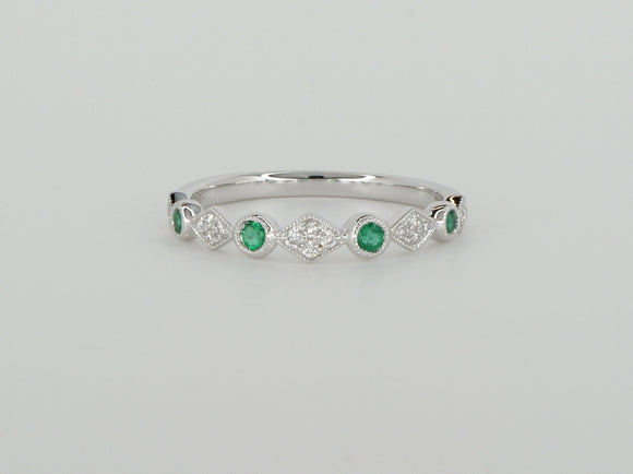 18k White Gold Emerald Diamond Stack Ring Availabel at The Vault Fine Jewellery