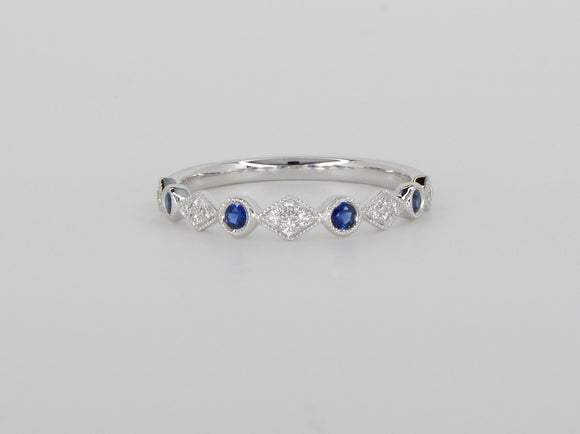 18k White Gold Blue Sapphire Diamond Stack Ring Availabel at The Vault Fine Jewellery