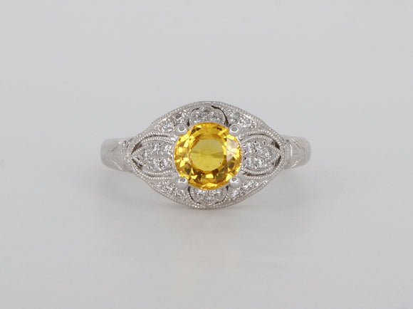 Yellow Sapphire Diamond 14k White Gold Ring Availabel at The Vault Fine Jewellery