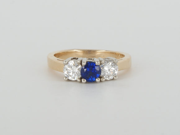 14k Yellow Gold Blue Sapphire Diamond Ring Availabel at The Vault Fine Jewellery