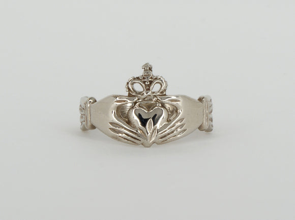 10k White Gold Claddagh Ring Availabel at The Vault Fine Jewellery
