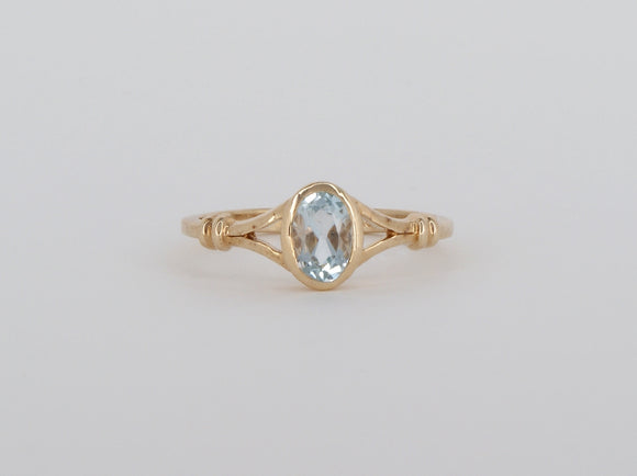 10k Yellow Gold Aqua Stuller Ring Availabel at The Vault Fine Jewellery