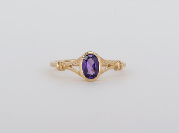 10k Yellow Gold Amethyst Stuller Ring Availabel at The Vault Fine Jewellery
