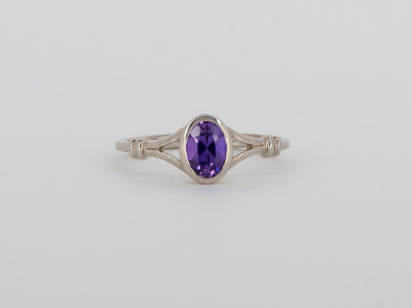 10k White Gold Amethyst Stuller Ring Availabel at The Vault Fine Jewellery