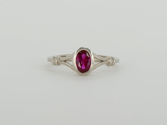 10k White Gold Synthetic Ruby Stuller Ring Availabel at The Vault Fine Jewellery