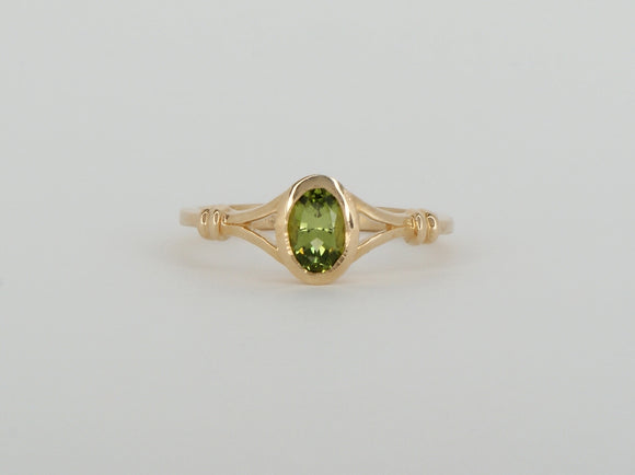14k Yellow Gold Synthetic Peridot Stuller Ring Availabel at The Vault Fine Jewellery
