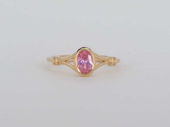 10k Yellow Gold Synthetic Pink Tourmaline Stuller Ring Availabel at The Vault Fine Jewellery