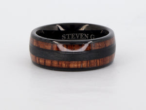 Tungsten Black Wood Grain Supreme Ring Availabel at The Vault Fine Jewellery