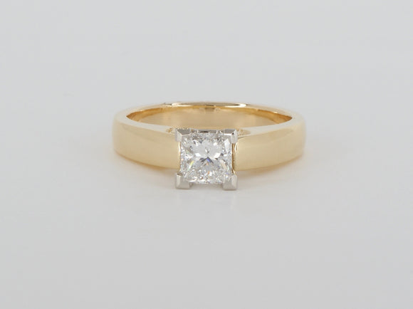18k Yellow Gold Princess Cut Diamond Ring Availabel at The Vault Fine Jewellery
