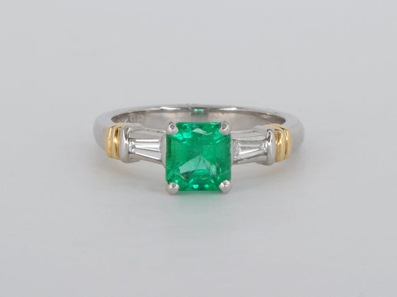 18k White & Yellow Gold Princess Cut Emerald Diamond Ring Availabel at The Vault Fine Jewellery