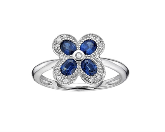10k White gold Blue Sapphire Diamond Ring Availabel at The Vault Fine Jewellery