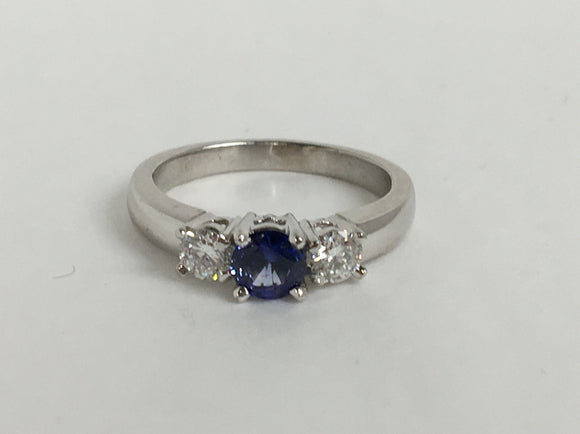 14k Blue Sapphire Ring White Gold Availabel at The Vault Fine Jewellery